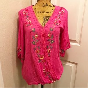 Umgee pink embroidered floral blouse